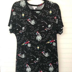 Lularoe Maria Long Maxi Dress Space Moon Man Sz M